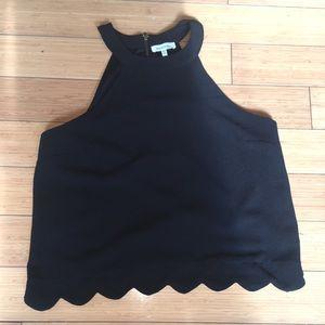 Black Monteau scalloped Top Size Large